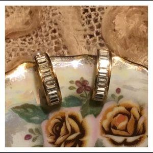 Elegant ROMAN Gold Rhinestone Studded Earrings